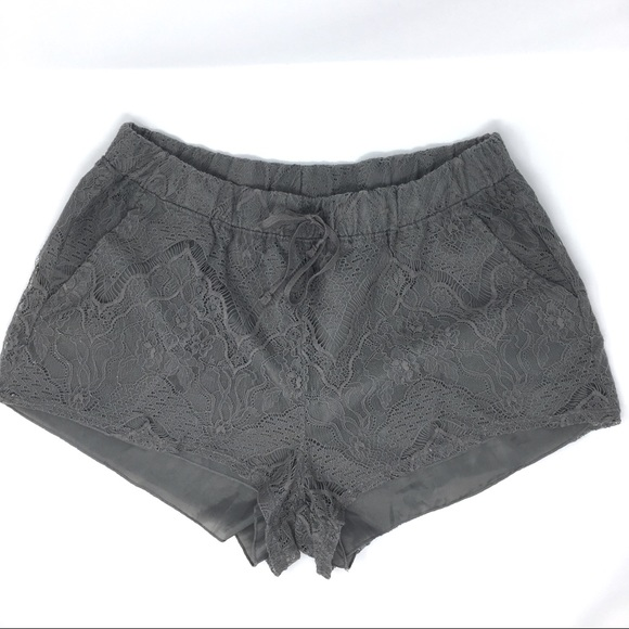 Divided Pants - H&M Divided gray lace overlay shorts size M